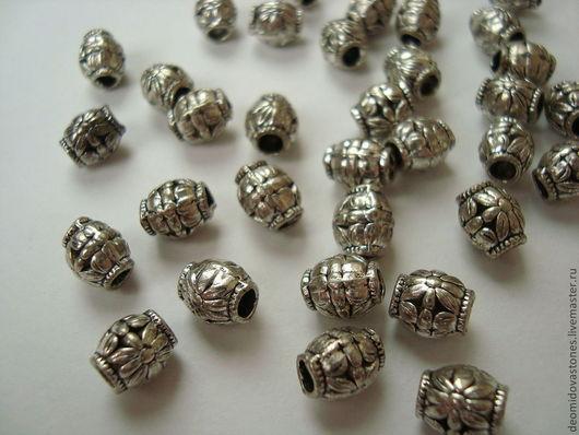 Для украшений ручной работы. Ярмарка Мастеров - ручная работа. Купить Бусина - бочонок, под серебро, 8 х 6 мм. Handmade.