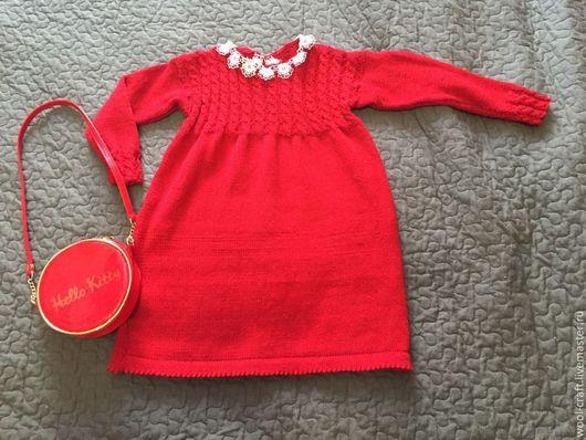 Одежда для девочек, ручной работы. Ярмарка Мастеров - ручная работа. Купить Вязанное платье. Handmade. Ярко-красный, разные цвета