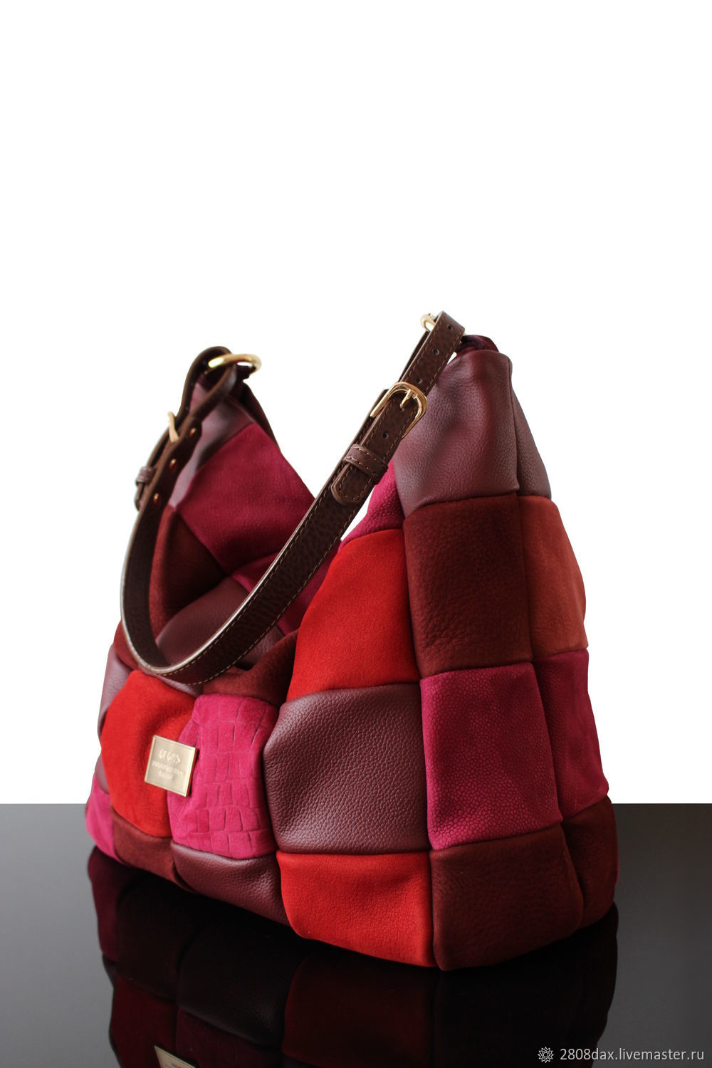 The bag of berries, a bag made of genuine leather and suede Patchwork, Sacks, Bordeaux,  Фото №1