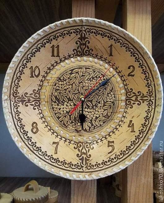 Часы для дома ручной работы. Ярмарка Мастеров - ручная работа. Купить Часы из бересты настенные большие. Часы для дома. Часы для гостиной. Handmade.