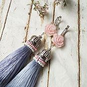 Украшения handmade. Livemaster - original item Earrings with silk tassels Misty rose. Handmade.
