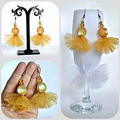 Украшения handmade. Livemaster - original item Gold earrings made of soft tulle. Handmade.