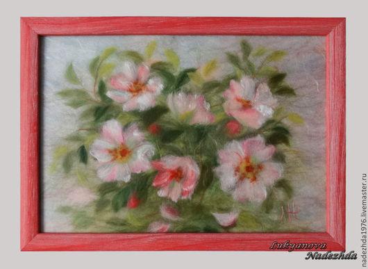 """Картины цветов ручной работы. Ярмарка Мастеров - ручная работа. Купить Картина из шерсти 'В цвету..."""". Handmade."""