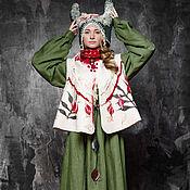 """Одежда ручной работы. Ярмарка Мастеров - ручная работа Коллекция """"Вереслава"""" платье, пальто-жилет, платок, головной убор.. Handmade."""