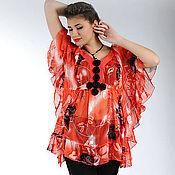 """Одежда ручной работы. Ярмарка Мастеров - ручная работа шифоновая блузка """"алая"""". Handmade."""
