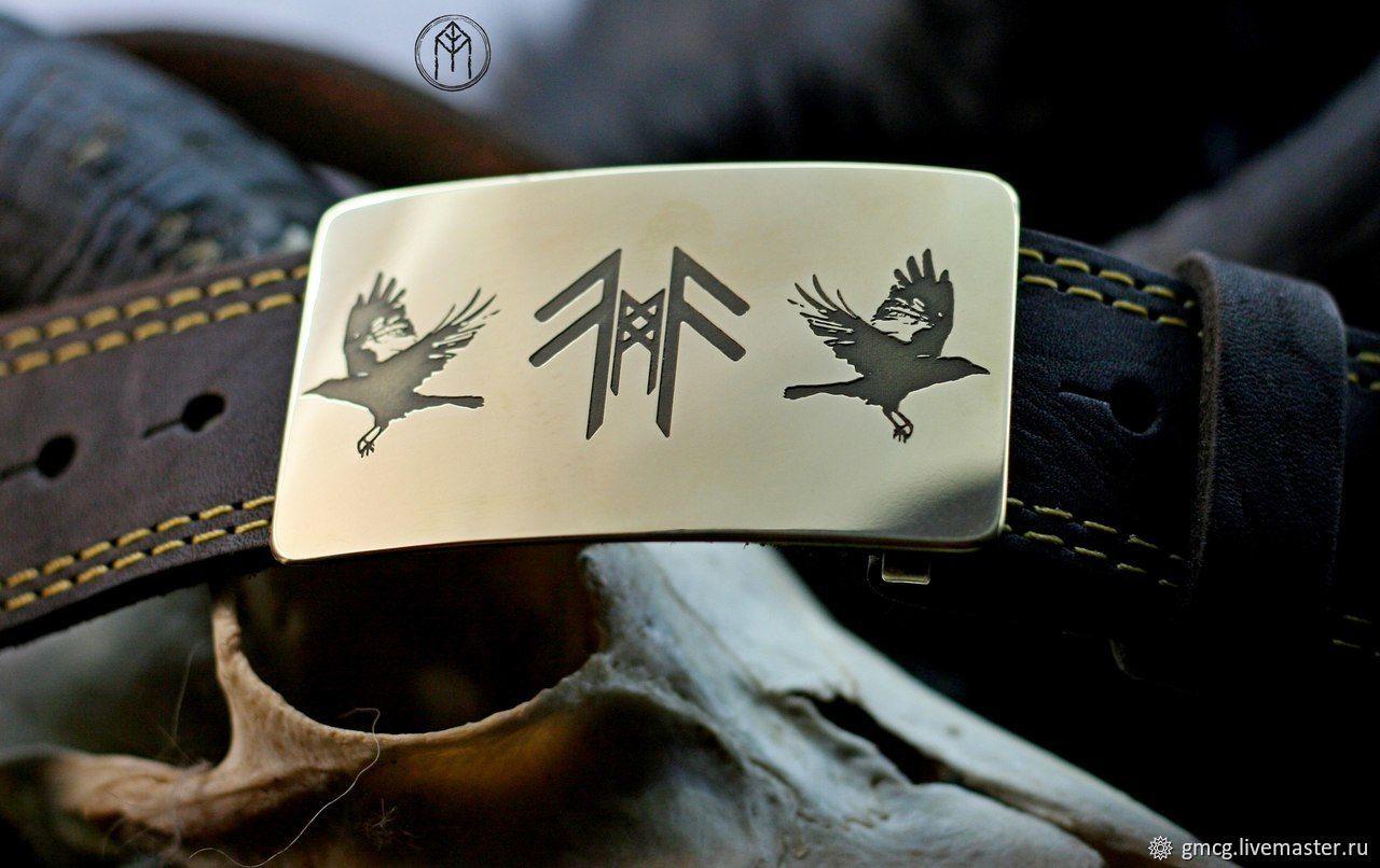 Leather belt 'the Ravens of Odin', Straps, Tolyatti,  Фото №1