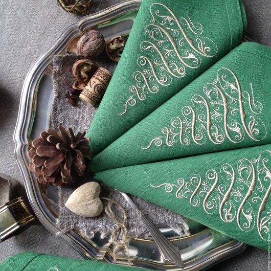 Текстиль, ковры ручной работы. Ярмарка Мастеров - ручная работа. Купить Салфетка с вышивкой новогодняя - Элегантная ель в зеленом. Handmade.