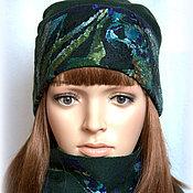 Аксессуары handmade. Livemaster - original item hat felted. Complete with scarf. Emerald country.. Handmade.