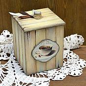 Для дома и интерьера ручной работы. Ярмарка Мастеров - ручная работа Баночка деревянная Мятный кофе. Handmade.