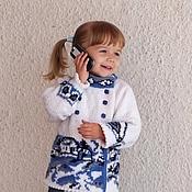 Работы для детей, handmade. Livemaster - original item jacket jacket winter warm knitted flower for baby girls. Handmade.