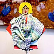 Аксессуары ручной работы. Ярмарка Мастеров - ручная работа Плотный шарф платок бактус из бамбуковой пряжи нежных пастельных цвето. Handmade.