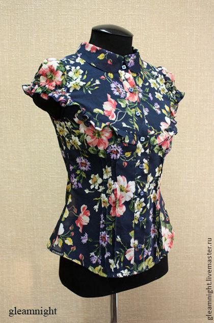 Блузки ручной работы. Ярмарка Мастеров - ручная работа. Купить Батистовая блузка. Handmade. Тёмно-синий, рукав-фонарик