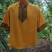 Одежда ручной работы. Ярмарка Мастеров - ручная работа Рубаха с орнаментом на шнуровке. Handmade.