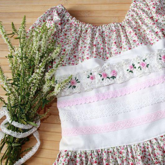 Одежда для девочек, ручной работы. Ярмарка Мастеров - ручная работа. Купить Платье с ручной вышивкой рококо, детское платье из хлопка, хлопковое. Handmade.