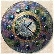"""Для дома и интерьера ручной работы. Ярмарка Мастеров - ручная работа Часы большие """"ПАВЛИНовые"""". Handmade."""