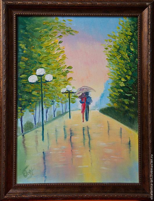 Город ручной работы. Ярмарка Мастеров - ручная работа. Купить Двое под дождем. Handmade. Разноцветный, дождь