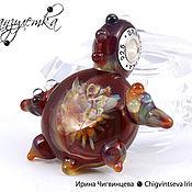 Украшения ручной работы. Ярмарка Мастеров - ручная работа Огненная черепаха - кулон стеклянный лэмпворк - вставки серебро 925. Handmade.