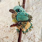Украшения ручной работы. Ярмарка Мастеров - ручная работа брошь птичка райская с бирюзой. Handmade.