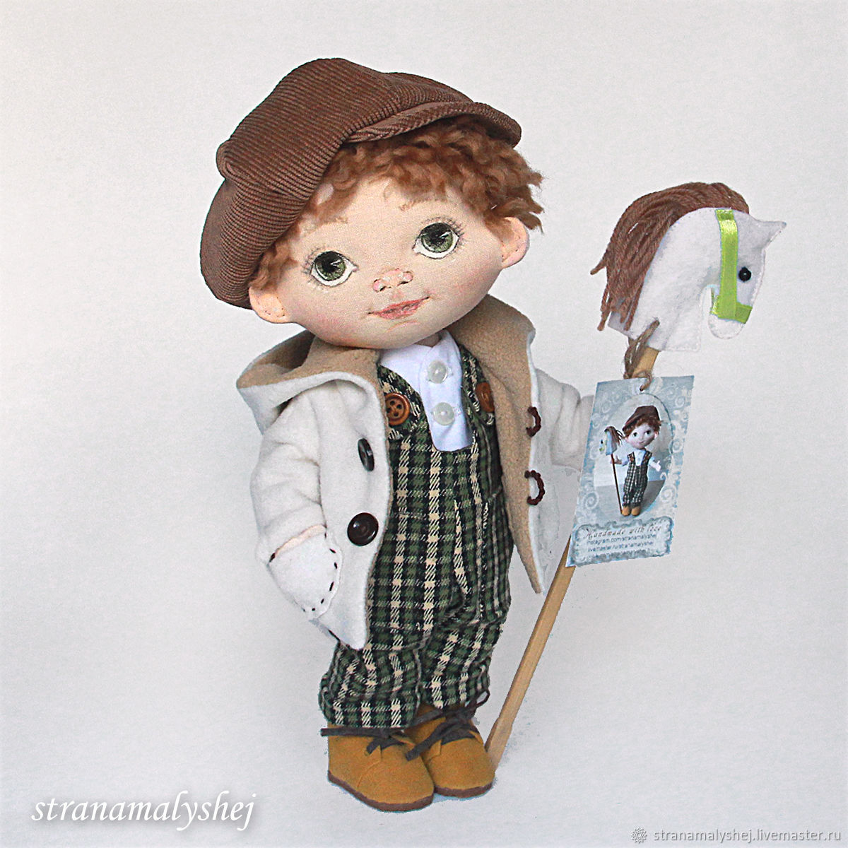 Rag doll boy with green eyes in a green jumpsuit, Dolls, St. Petersburg,  Фото №1