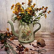 Для дома и интерьера handmade. Livemaster - original item Watering can ceramic the melody of summer. Watering can decoupage. Handmade.