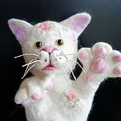 Куклы и игрушки handmade. Livemaster - original item Cat white theatrical doll. A puppet for the puppet theater.. Handmade.