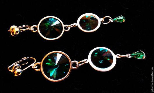 Серьги ручной работы. Ярмарка Мастеров - ручная работа. Купить Длинные клипсы для ушей Swarovski emerald. Handmade. Тёмно-зелёный