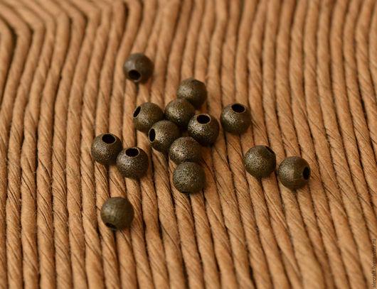 Для украшений ручной работы. Ярмарка Мастеров - ручная работа. Купить Бусины шарики мелкие Звездная пыль 4мм ант.бронза, 10шт. Handmade.