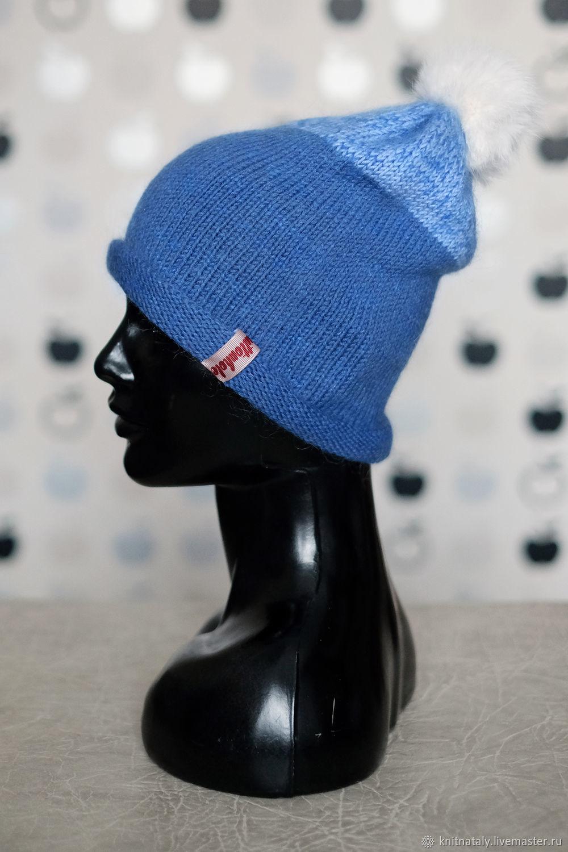 Сине-голубая шапка бини из мериноса с помпоном, Шапки, Екатеринбург,  Фото №1