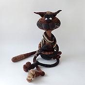 Куклы и игрушки handmade. Livemaster - original item Knitted interior doll Ostap the Cat (II). Handmade.