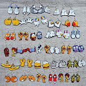 Украшения ручной работы. Ярмарка Мастеров - ручная работа Серьги всякие-разные, ручная роспись, разноцветный. Handmade.