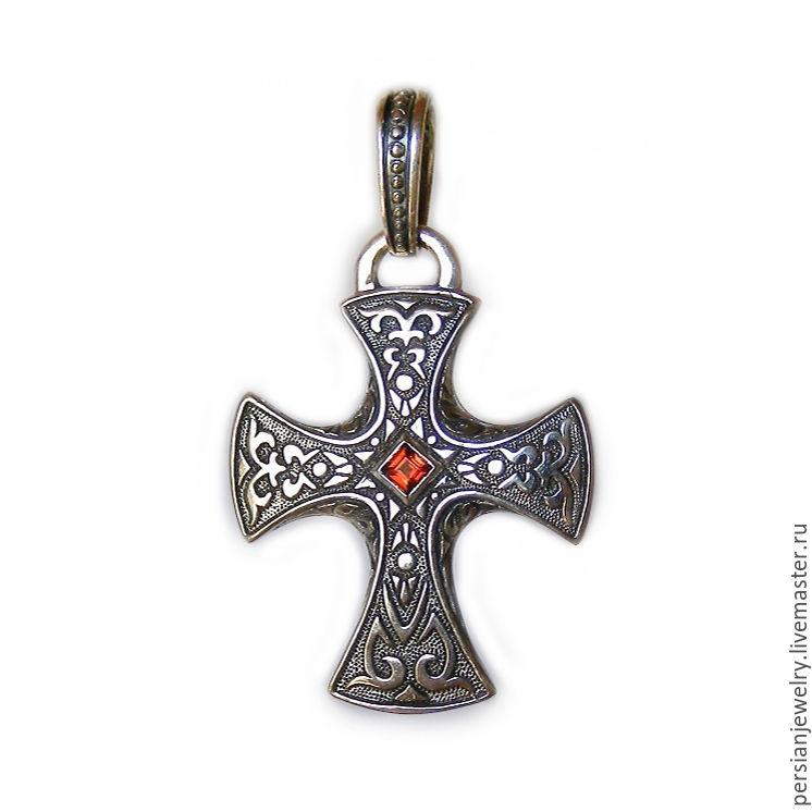 cross: Men's silver cross with garnet, Cross, Sevastopol,  Фото №1