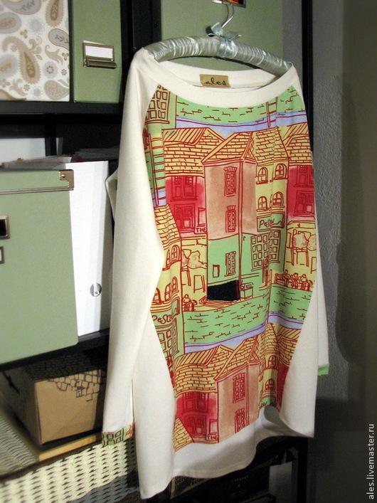 """Кофты и свитера ручной работы. Ярмарка Мастеров - ручная работа. Купить Туника """"Городской комфорт"""". Handmade. Белый, блузка, город"""