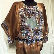 """Одежда ручной работы. Ярмарка Мастеров - ручная работа Блуза батик """" БИСЕР"""" коричневая. Handmade."""