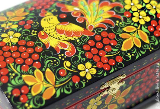 """Шкатулки ручной работы. Ярмарка Мастеров - ручная работа. Купить Шкатулка """"Хохлома"""". Handmade. Комбинированный, Роспись по дереву"""