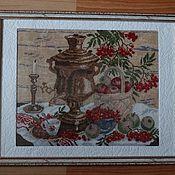 """Картины и панно ручной работы. Ярмарка Мастеров - ручная работа Картина """"Самовар"""" вышивка крестом. Handmade."""