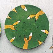 Посуда ручной работы. Ярмарка Мастеров - ручная работа керамическая тарелка с лисичками. Handmade.