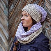 Аксессуары ручной работы. Ярмарка Мастеров - ручная работа Снуд и вязаная шапочка омбре с переходом цвета фиолетовый. Handmade.