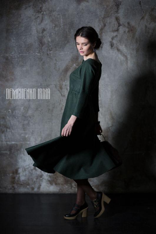 Платья ручной работы. Ярмарка Мастеров - ручная работа. Купить Валяное платье «Изумрудное». Handmade. Тёмно-зелёный, винтаж