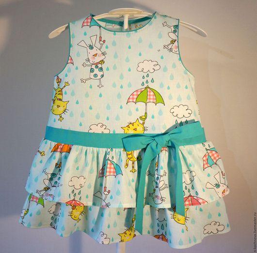 Одежда для девочек, ручной работы. Ярмарка Мастеров - ручная работа. Купить Детское платье с зонтиками. Handmade. Разноцветный, зонтик