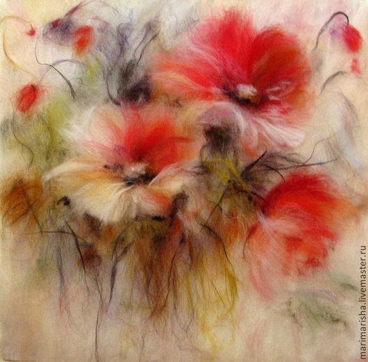 Картины цветов ручной работы. Ярмарка Мастеров - ручная работа. Купить Картина из шерсти Дыхание лета. Handmade. Коралловый