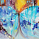 Order Turquoise butterfly-a bright oil painting on canvas. Annet Loginova. Livemaster. . Pictures Фото №3