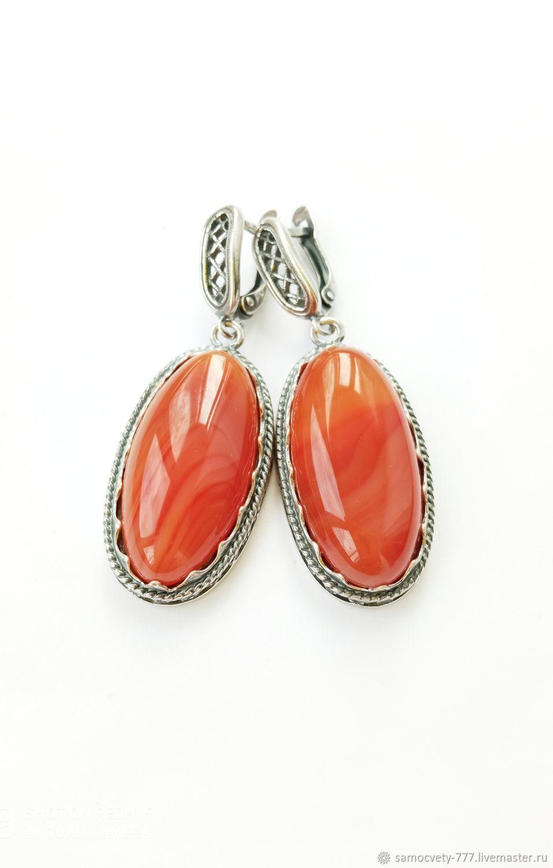 Silver earrings'Crimean carnelian', Earrings, Feodosia,  Фото №1
