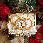 handmade. Livemaster - original item Set of small crocheted dreamcatchers with feathers or fringe. Handmade.