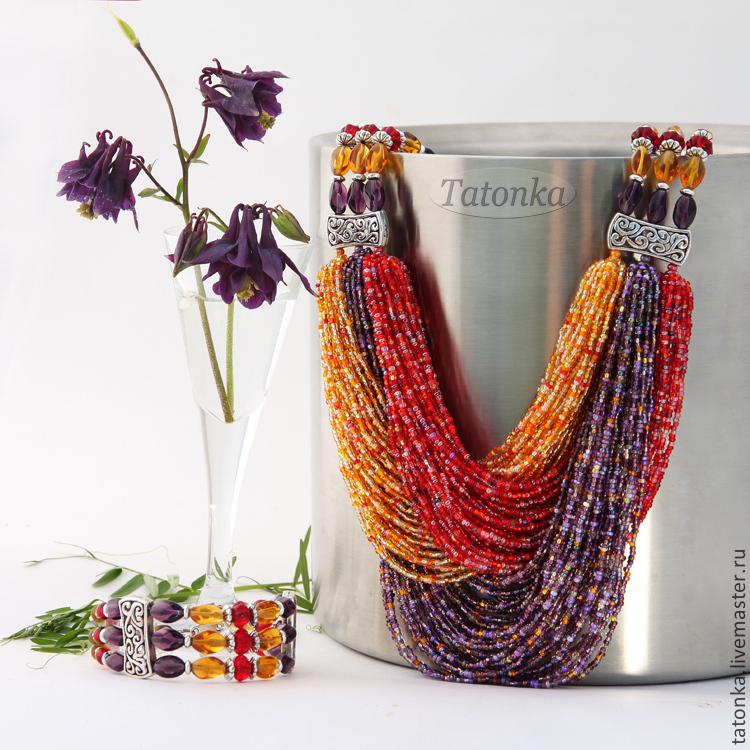 Set 'Three colours of summer' necklace and bracelet, Jewelry Sets, Sarov,  Фото №1