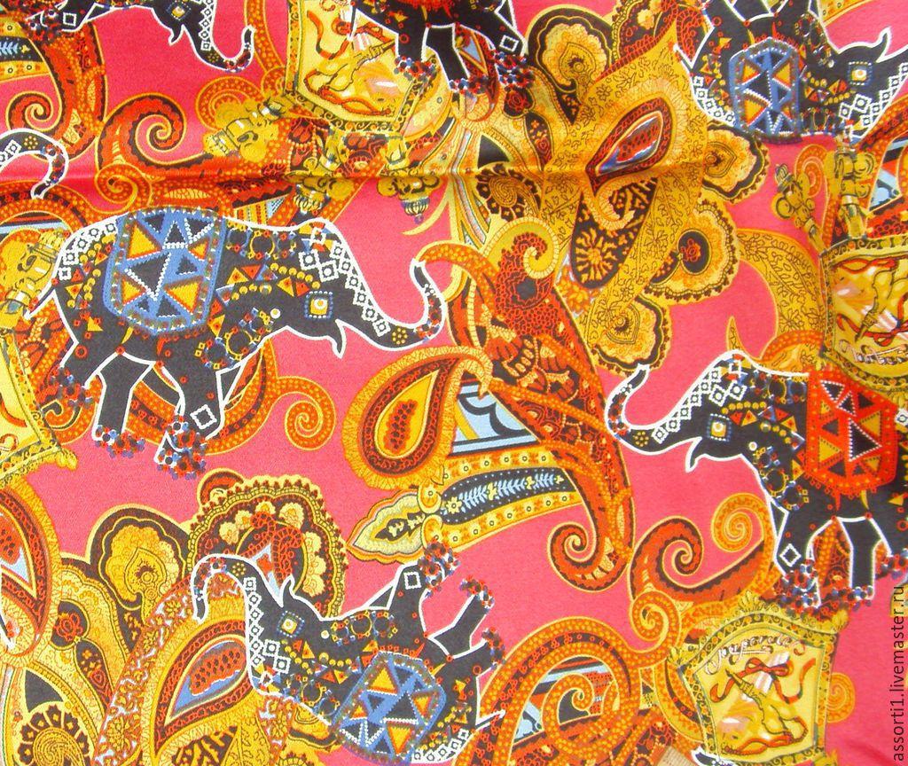 """Хлопок стрейч """"Слоны и пейсли"""", Ткань, Новосибирск, Фото №1"""