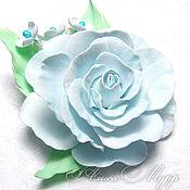 """Украшения ручной работы. Ярмарка Мастеров - ручная работа Заколка-зажим """"Голубые грезы"""" роза фоамиран заколка для волос цветы. Handmade."""