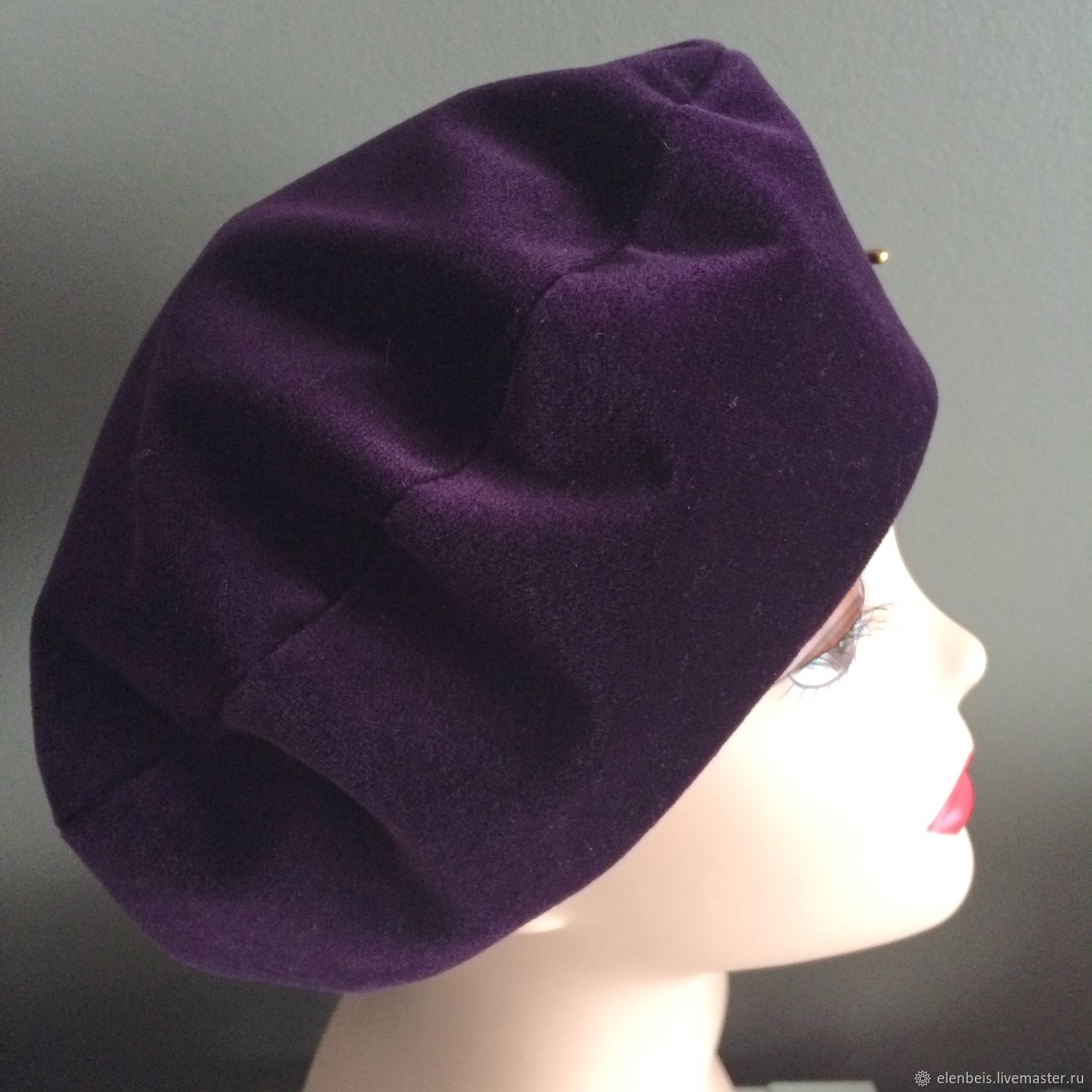 e2e5c9a2a54ae Purple velvet beret – shop online on Livemaster with shipping ...