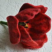Украшения ручной работы. Ярмарка Мастеров - ручная работа Красный тюльпан - брошь валяная. Handmade.