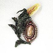 Украшения handmade. Livemaster - original item TEA ROSE brooch with labradorite. rosebud.. Handmade.