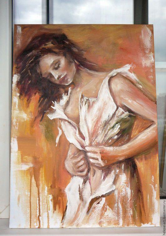 """Люди, ручной работы. Ярмарка Мастеров - ручная работа. Купить Картина маслом """" На рассвете"""", 50х70 (девушка, Пино Даени (Pino Daeni). Handmade."""